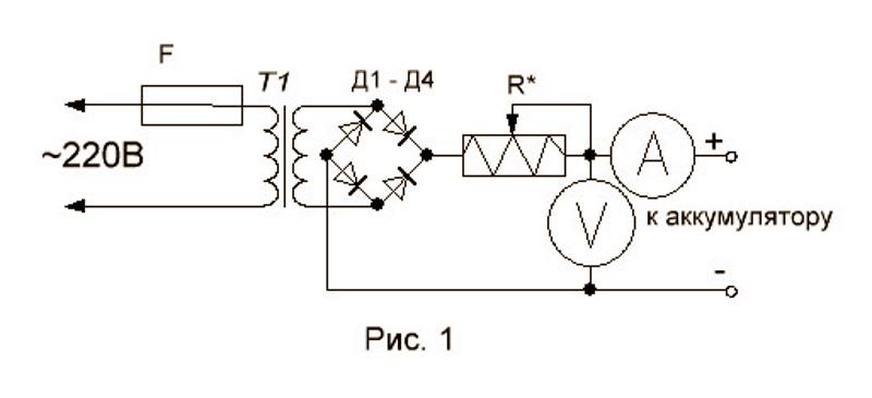 классическая схема зарядного устройства автомобиля
