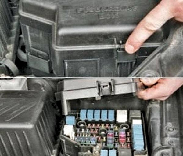 коробка предохранителей хендай санта фе в моторном отсеке