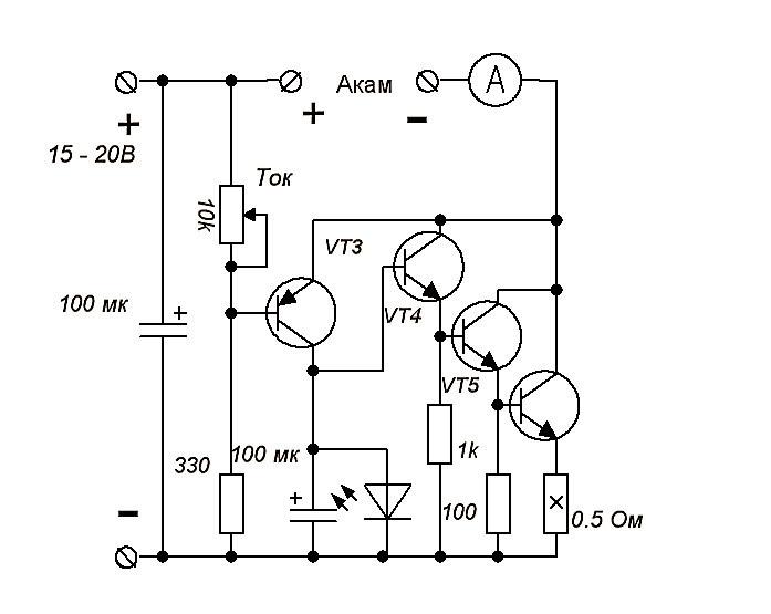 схема автоматического зарядного устройства для автомобильных свинцовых аккумуляторов.