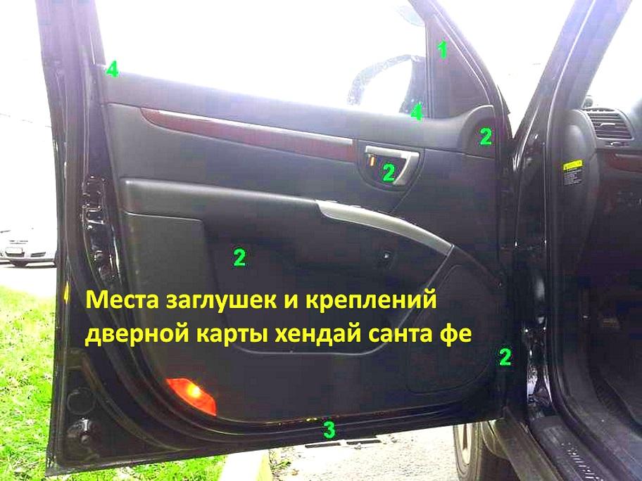 Снятие обшивки двери Hyundai Santa Fe