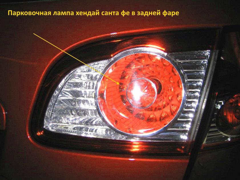 парковочная лампа заднего фонаря хендай санта фе и её замена
