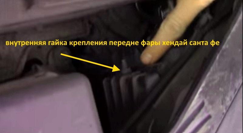 внутренее крепление передней фары хендай санта фе