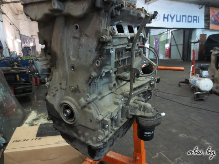 демонтаж мотора хендай санта фе