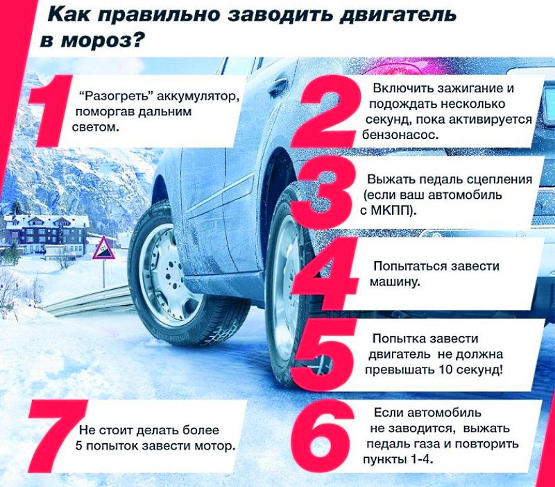 Как завести машину в мороз советы