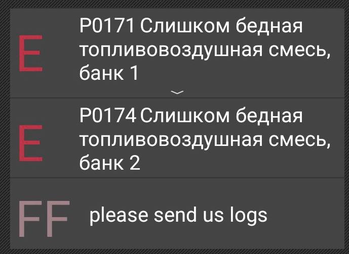 неисправности P0171 и P0174